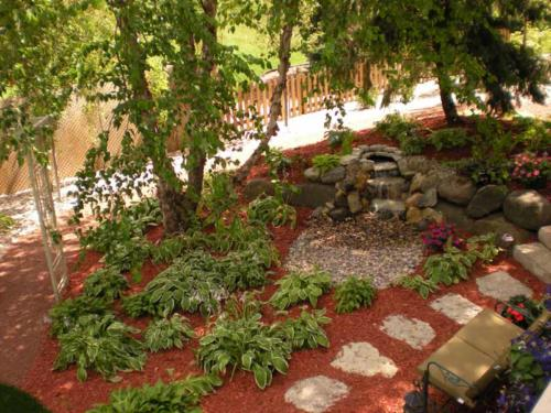 LANDSCAPE RENOVATION, PLANTS, WATER FEATURE