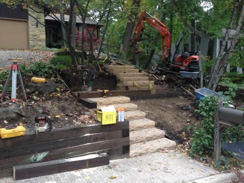 OutdoorArtsLandscape GageTimberWalls concretestepsfrontentry 008